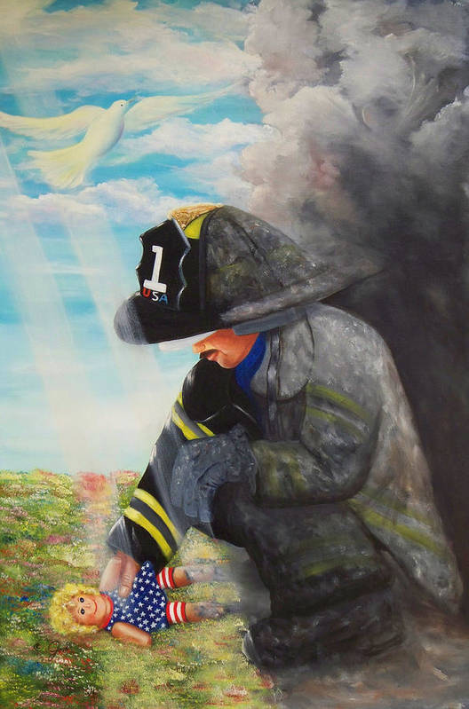 Portrait Art Print featuring the painting September 11th by Joni McPherson