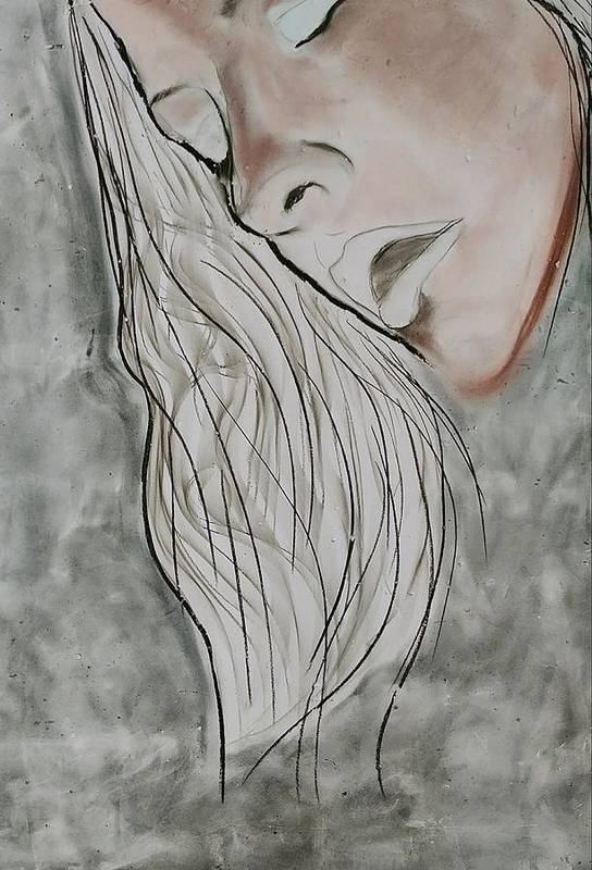Beauty Art Print featuring the drawing Sigh by J Bauer