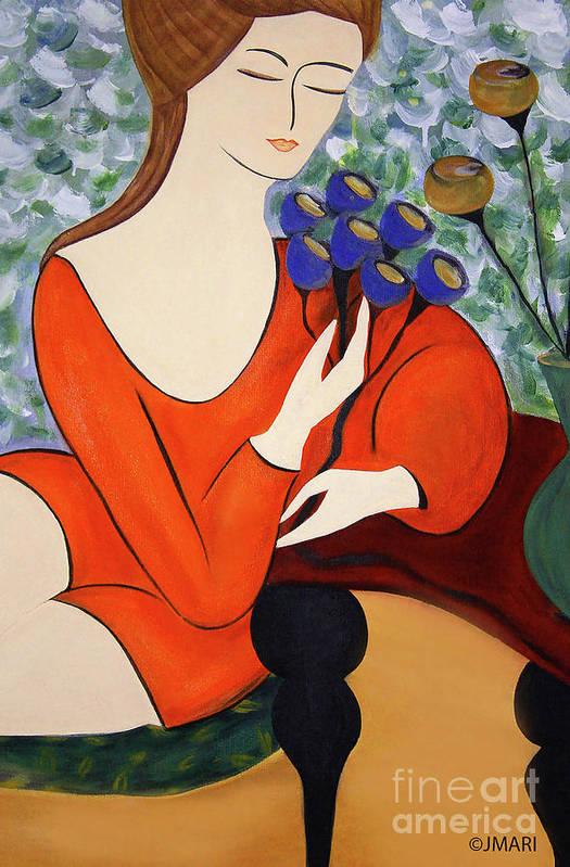 #female #figurative #floral #fineart #art #images #painting #artist #print #canvas #sittingwomen Art Print featuring the painting Sitting Women by Jacquelinemari