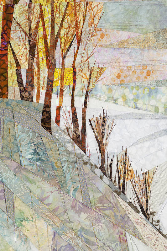 Tree Art Print featuring the tapestry - textile Snowy Dawn by Linda Beach