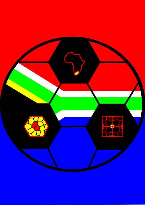 South African Flag Art Print featuring the digital art South African Joy VI by Asbjorn Lonvig