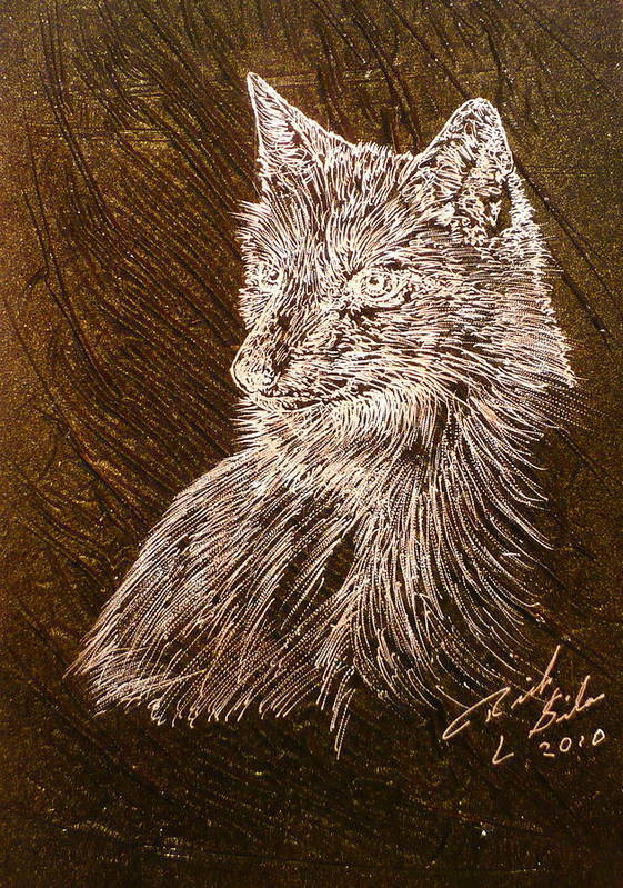 Fox Art Print featuring the painting Spirit Fox by Rick Silas