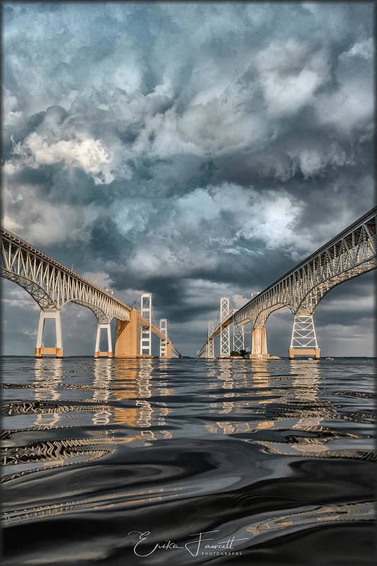 Chesapeake Bay Bridge Art Print featuring the photograph Stormy Chesapeake Bay Bridge by Erika Fawcett