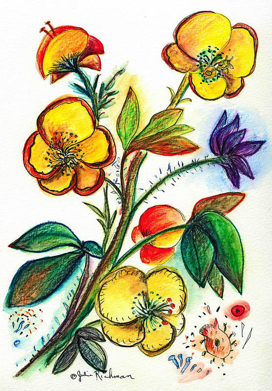 Nature Art Print featuring the painting Strong Yellow Flowers by Julie Richman