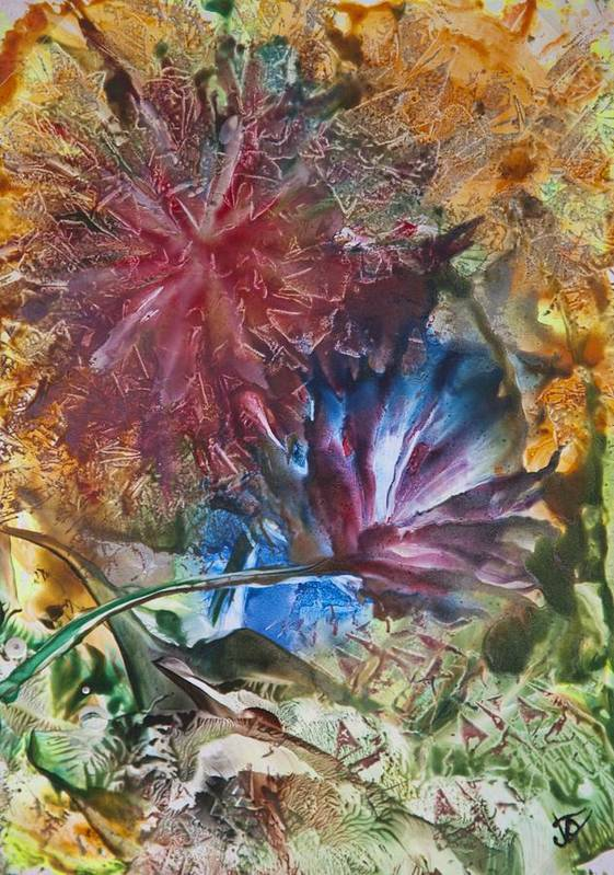 Floral Abstract Art Print featuring the painting Summer Dance by John Vandebrooke