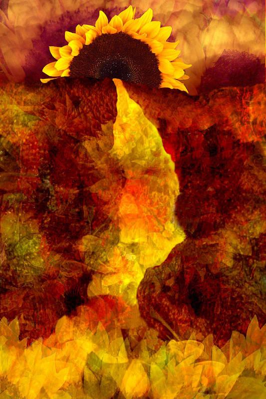 Sunflower Art Print featuring the digital art Sundown by Tom Romeo
