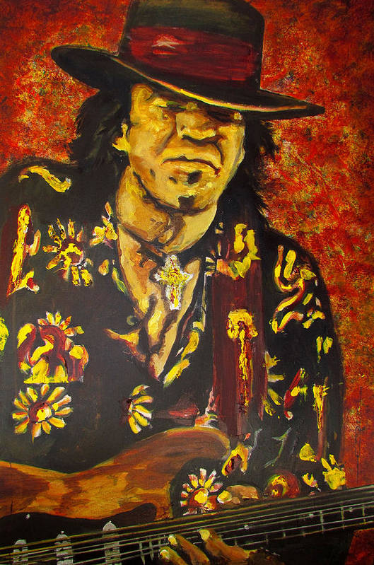 Stephen Ray stevie Ray Vaughan Art Print featuring the painting Texas Blues Man- SRV by Eric Dee