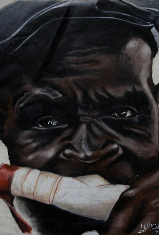 African Art Print featuring the pastel The Ivory Flute by Lamark Crosby