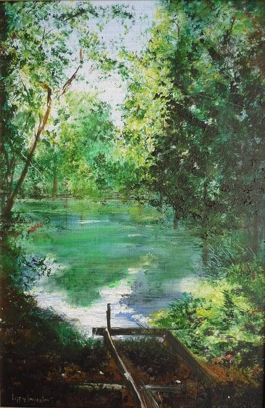 Lake Art Print featuring the painting The Lake At Stansted Unfinished by Lizzy Forrester