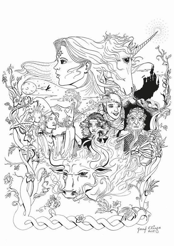 Last Unicorn Art Print featuring the drawing The Last Unicorn Poster by Jozef Klinga