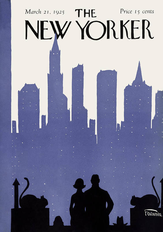 Skyline Art Print featuring the painting New Yorker March 21st, 1925 by Carl Fornaro