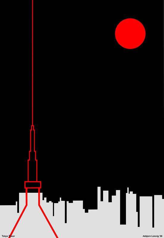 Art Print featuring the digital art Tokyo Tower by Asbjorn Lonvig