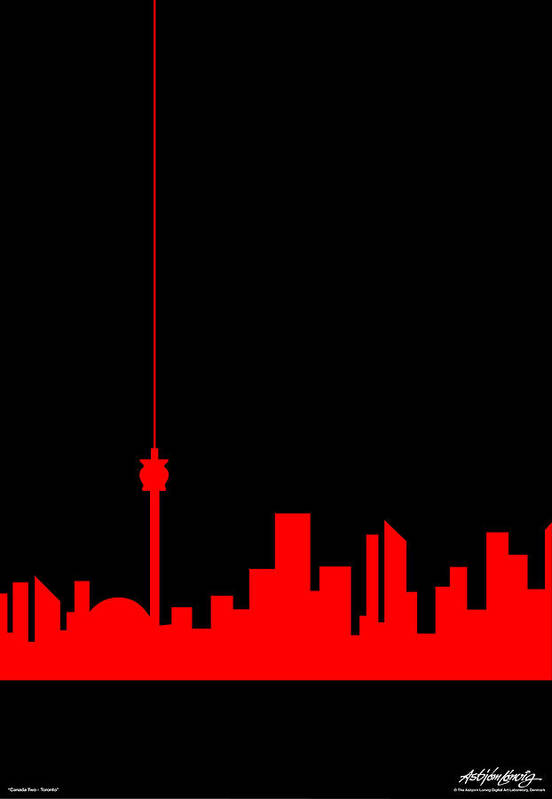 Toronto Art Print featuring the painting Toronto Skyline by Asbjorn Lonvig