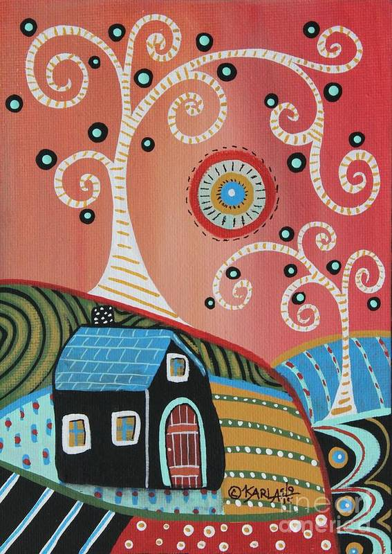 Landscape Art Print featuring the painting Two Swirl Trees by Karla Gerard