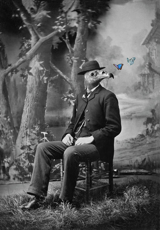 Surrealistic Art Print featuring the photograph Uncle Guido Contemplates a Light Lunch by Robert Hudnall