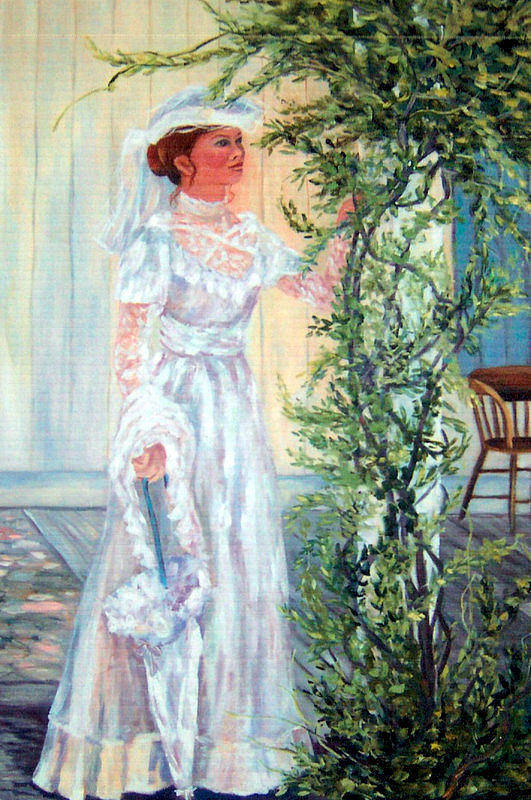 Victorian Art Print featuring the painting Victorian Lady on Poarch by Lorna Skeie