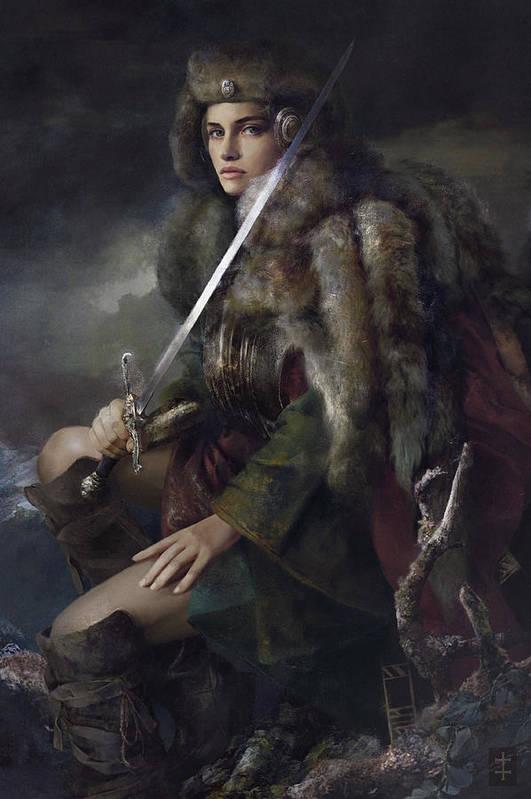 Warrioress Art Print featuring the painting Viktoria by Eve Ventrue