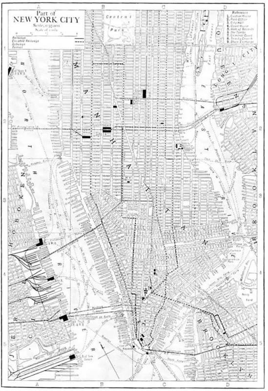Vintage Map Of New York City Vintage Map of New York City   1911 Art Print by CartographyAssociates