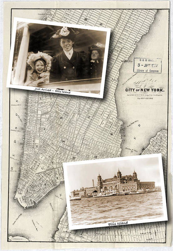 Map Art Print featuring the photograph Vintage New York Map with Ellis Island by Karla Beatty