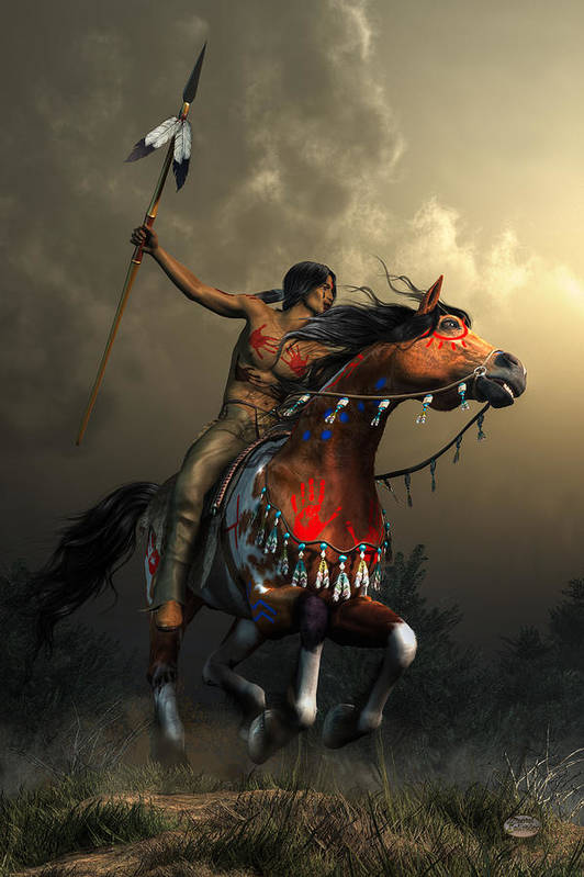 Warriors Of The Plains Art Print featuring the digital art Warriors of the Plains by Daniel Eskridge