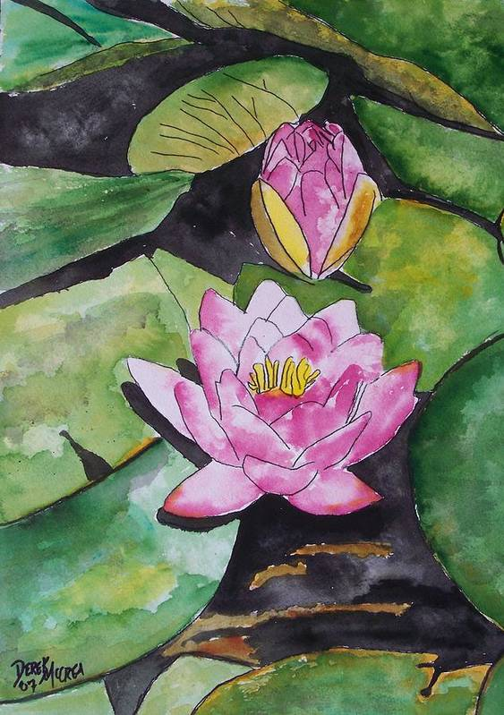 Water Lily Art Print featuring the painting Water Lily by Derek Mccrea