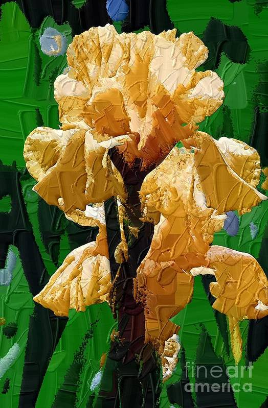 Diane Berry Art Print featuring the painting Yellow Iris by Diane E Berry