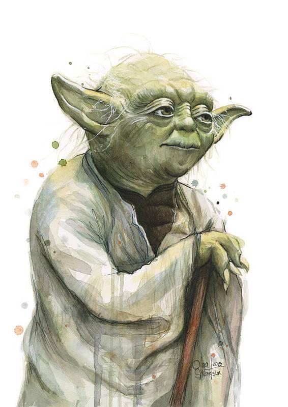 Yoda Art Print featuring the painting Yoda Watercolor by Olga Shvartsur