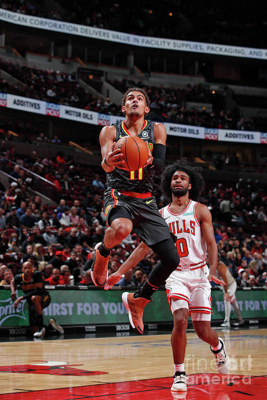 Nba Pro Basketball Art Print featuring the photograph Atlanta Hawks V Chicago Bulls by Jeff Haynes