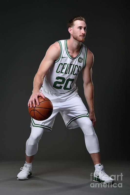 Nba Pro Basketball Art Print featuring the photograph Gordon Hayward Boston Celtics Portraits by Brian Babineau