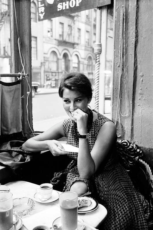 Timeincown Art Print featuring the photograph Loren In New York Cafe by Peter Stackpole