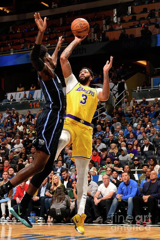 Nba Pro Basketball Art Print featuring the photograph Los Angeles Lakers V Orlando Magic by Gary Bassing