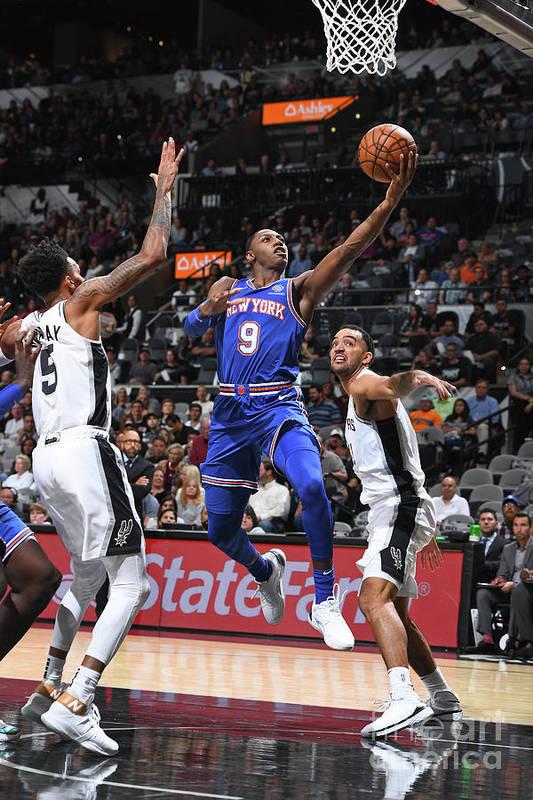 Nba Pro Basketball Art Print featuring the photograph New York Knicks V San Antonio Spurs by Garrett Ellwood