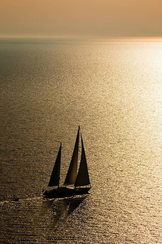 Curve Art Print featuring the photograph Sailing At Sunset by Mbbirdy