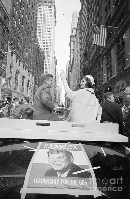 Democracy Art Print featuring the photograph Senator John Kennedy And Jackie Kennedy by Bettmann