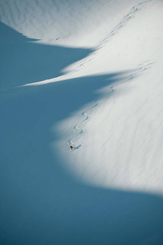 Scenics Art Print featuring the photograph Ski Guide At Work by Topher Donahue