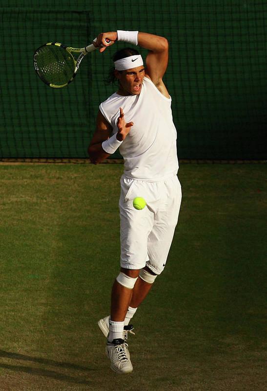 Rafael Nadal Art Print featuring the photograph The Championships - Wimbledon 2008 Day by Ian Walton