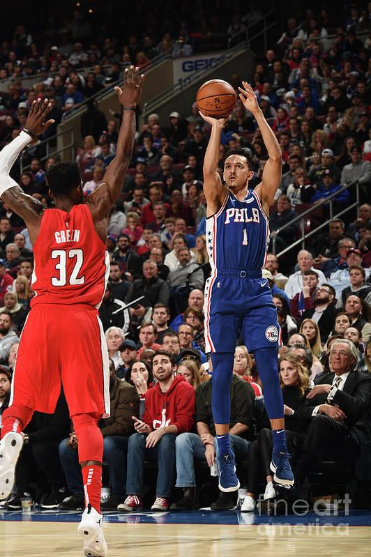 Nba Pro Basketball Art Print featuring the photograph Washington Wizards V Philadelphia 76ers by David Dow