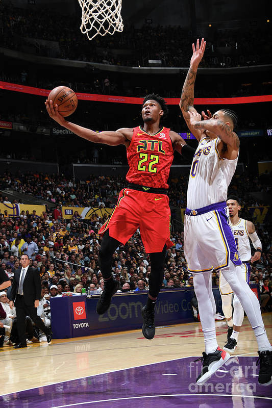 Nba Pro Basketball Art Print featuring the photograph Atlanta Hawks V Los Angeles Lakers by Andrew D. Bernstein