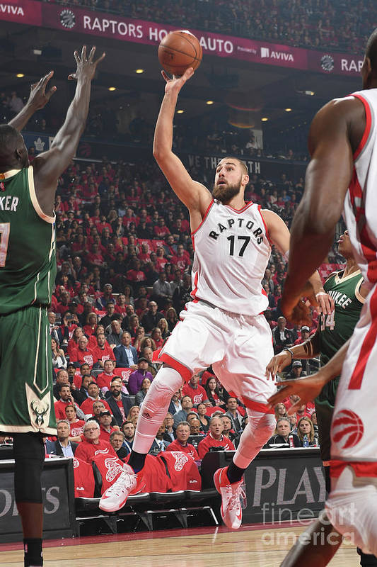 Playoffs Art Print featuring the photograph Milwaukee Bucks V Toronto Raptors - by Ron Turenne