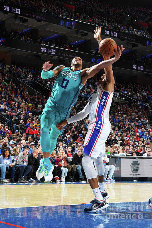 Nba Pro Basketball Art Print featuring the photograph Charlotte Hornets V Philadelphia 76ers by Jesse D. Garrabrant