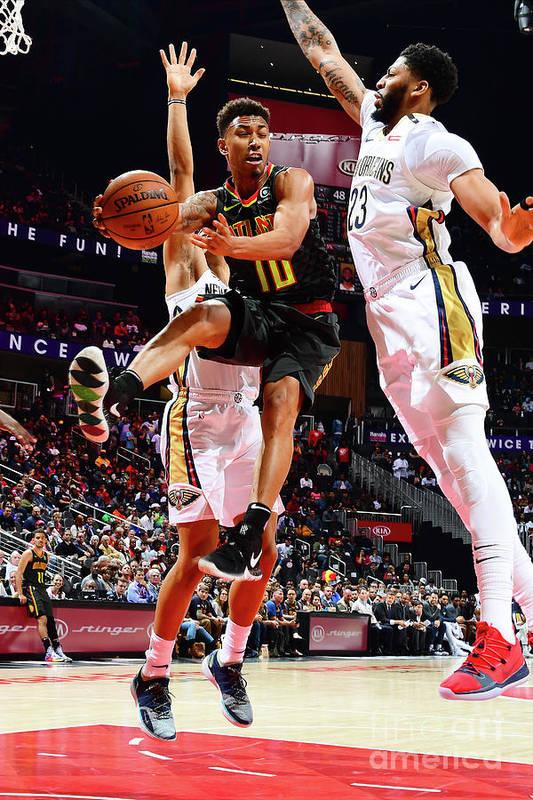 Atlanta Art Print featuring the photograph New Orleans Pelicans V Atlanta Hawks by Scott Cunningham