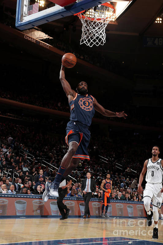 Tim Hardaway Jr. Art Print featuring the photograph Brooklyn Nets V New York Knicks by Nathaniel S. Butler