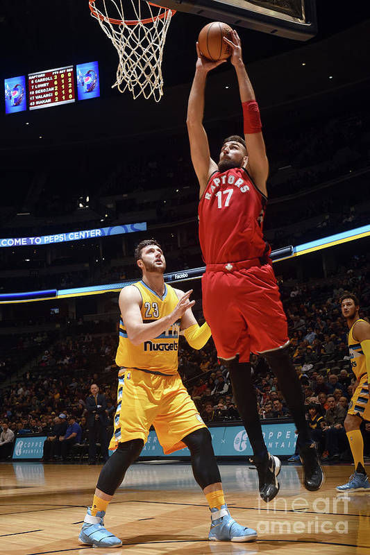 Nba Pro Basketball Art Print featuring the photograph Toronto Raptors V Denver Nuggets by Garrett Ellwood