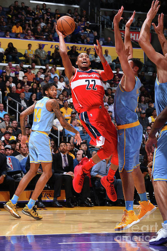 Nba Pro Basketball Art Print featuring the photograph Washington Wizards V Los Angeles Lakers by Andrew D. Bernstein