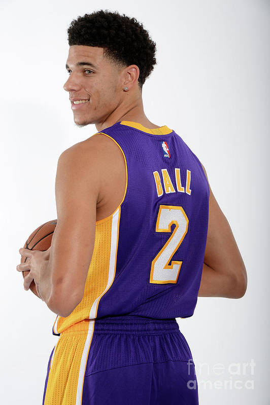 Following Art Print featuring the photograph Los Angeles Lakers Introduce Lonzo Ball by Andrew D. Bernstein