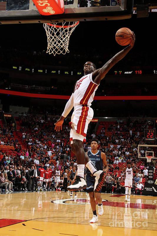 Nba Pro Basketball Art Print featuring the photograph Memphis Grizzlies V Miami Heat by Oscar Baldizon