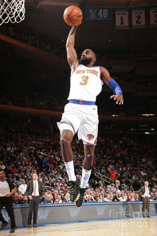 Tim Hardaway Jr. Art Print featuring the photograph Milwaukee Bucks V New York Knicks by Ned Dishman