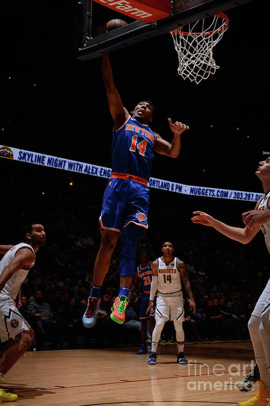 Nba Pro Basketball Art Print featuring the photograph New York Knicks V Denver Nuggets by Bart Young