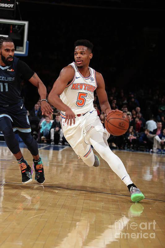 Nba Pro Basketball Art Print featuring the photograph Memphis Grizzlies V New York Knicks by Nathaniel S. Butler