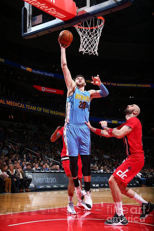 Jusuf Nurkić Art Print featuring the photograph Denver Nuggets V Washington Wizards by Ned Dishman